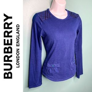 Burberry Long Sleeve Checkered Shoulder Tee
